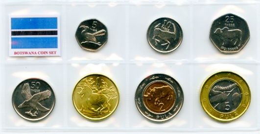 Botswana 2013 set containing 5, 10, 25, 50 Thebe and 1, 2, 5 Pula coins  uncirculated